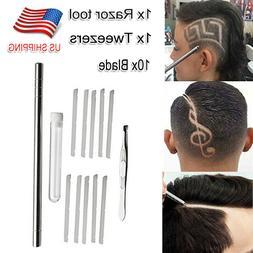 1 Set Salon Eyebrows Beards Hair Styling 10 Blades Engraving