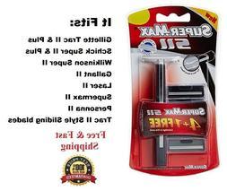 2 Supermax SII fit Gillette Trac II Razor Handle blades Refi