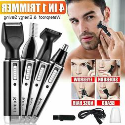 4-IN-ONE Men Ear Nose Hair Trimmer Electric Beard Shaver Cor