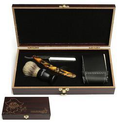 4Pcs Shaver Kit Cut Throat Straight Razor Shaving Brush Stro