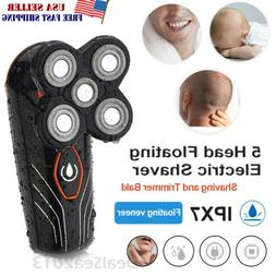 5 Head Dry Wet Floating 4D Shaving Hair Blade Bald Electric