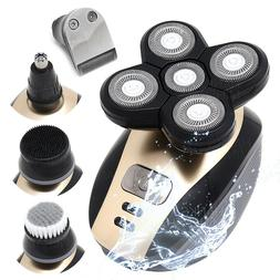 5-in-1 Rotary Electric Shaver 4D Rechargeable Bald Head Hair