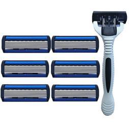 6 Layers Razor 1 Razor Holder + 7 Blades Replacement <font><