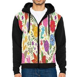 BURNS Men's Texture Bright Colorful Pattern Hoodie Sporty Pr