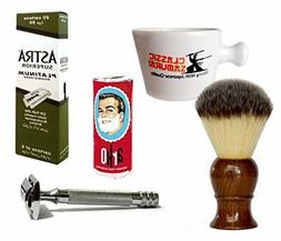 Classic Samurai Men Premium Shaving Set with Heavy Duty Long