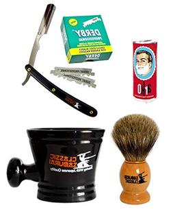 Classic Samurai Men's Shaving Set with Stainless Steel Profe