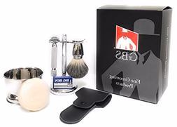 GBS Heavy Duty DE Slant Safety Razor + Wet Shaving Set - Bow