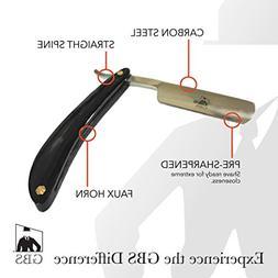 GBS Men's Black Faux Horn Carbon Steel Straight Razor - Cut