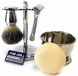 GBS Men's Shave Kit with HD Slant Razor  Double Edge Safety