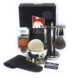 GBS Men's Shaving Set - Merkur 34001  Double Edge Safety Raz