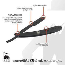 GBS Professional Straight Edge Razor Shavette Premium Black/