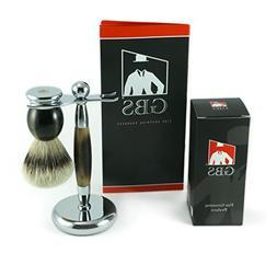 GBS Silvertip Badger Shaving Brush Deluxe Horn Heavy Duty Ha