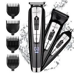 Hatteker 3 in 1 Mens Beard Trimmer Waterproof Nose Hair Trim