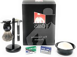 Men's Double Edge Razor Shaving Set - 5 PC - Black Rubber Co