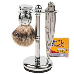 Parker SR1 Straight Edge Razor Shave Set - Includes 100% Pur