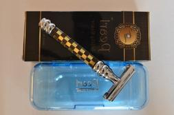 Pearl Butterfly Safety Razor, Black & Gold Raised Checker Kn