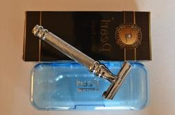 Pearl Butterfly Safety Razor, Chrome Raised Swirl Handle