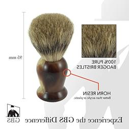 GBS 100% Pure Badger Bristle Shaving Brush With Faux Horn Ha