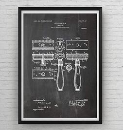 Double Edge Razor Patent Print - Poster Shaving Gift Fathers