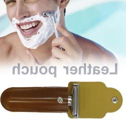 Double Edge Shaving Safety Razor Classic Shaver Leather Case