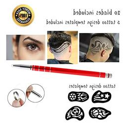 Hair Tattoo Pen Set  Stainless Steel Includes 20 Blades and