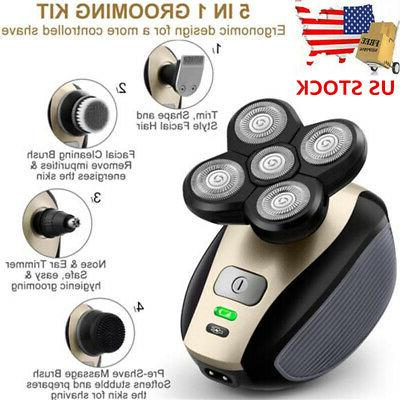 5 IN 1 4D Rotary Rechargeable Electric Shaver Head Shaver Be