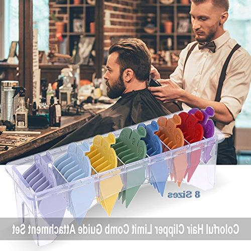 8 Sizes Colorful Clipper Comb Attachment for Hair Shaver Haircut Accessory