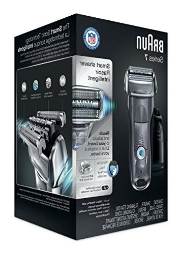 Braun Electric Shaver, 7 7865cc Men's Electric Razor Shaver, & Dry, Travel & Charge Grey Pop