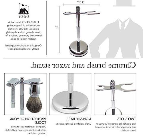 GBS DE Slant Safety Wet Set Bowl, Soap, Travel Brush Razor + Blades! that Extra Stubble Your