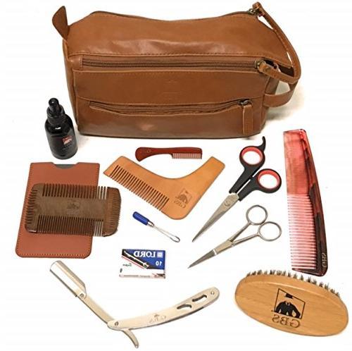 GBS Men's Deluxe Beard Grooming Gift Set - Travel Bag, Barbe