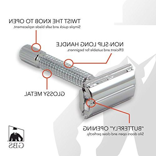GBS Men's Safety Butterfly Shaving Razor - Polished Chrome r