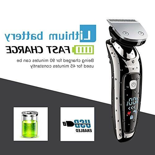 Hatteker Mens Electric Shaver Razor Beard Trimmer Shaver Cordless Wet/Dry in USB Rechargeable Waterproof Classic Black