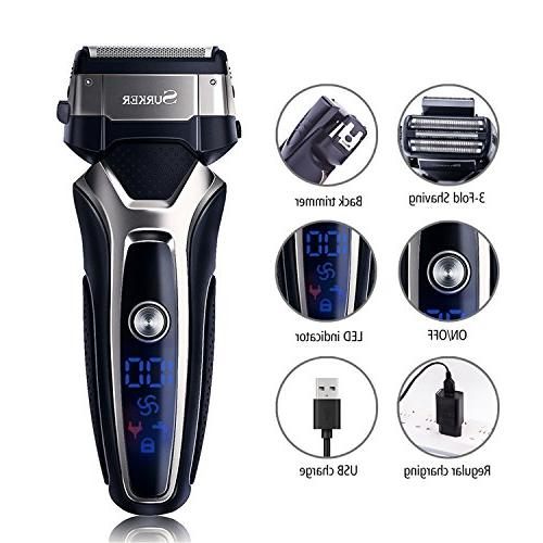 SURKER Beard Electric Electric Charger Dry/Wet Grooming Waterproof LCD Travel Best Gift