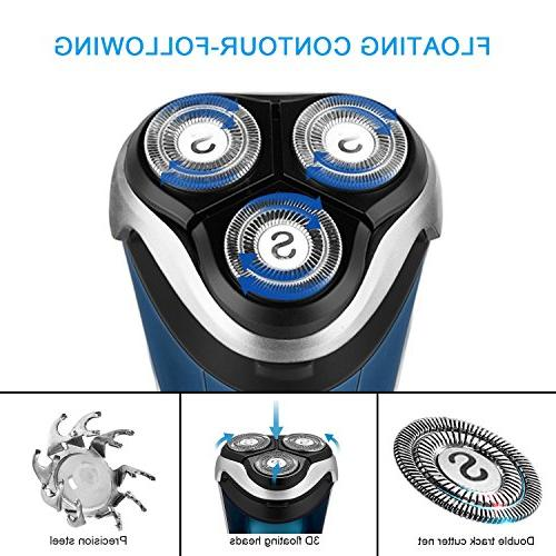 SweetLF 3D Rechargeable 100% Waterproof Wet Shavers for Men Electric Shaving with Pop-up Trimmer,