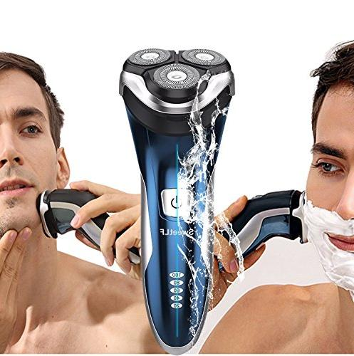 SweetLF Rechargeable Waterproof Wet Rotary Shavers Men Electric Shaving with Pop-up Trimmer,
