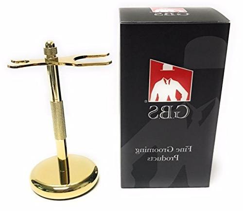 deluxe gold razor brush stand
