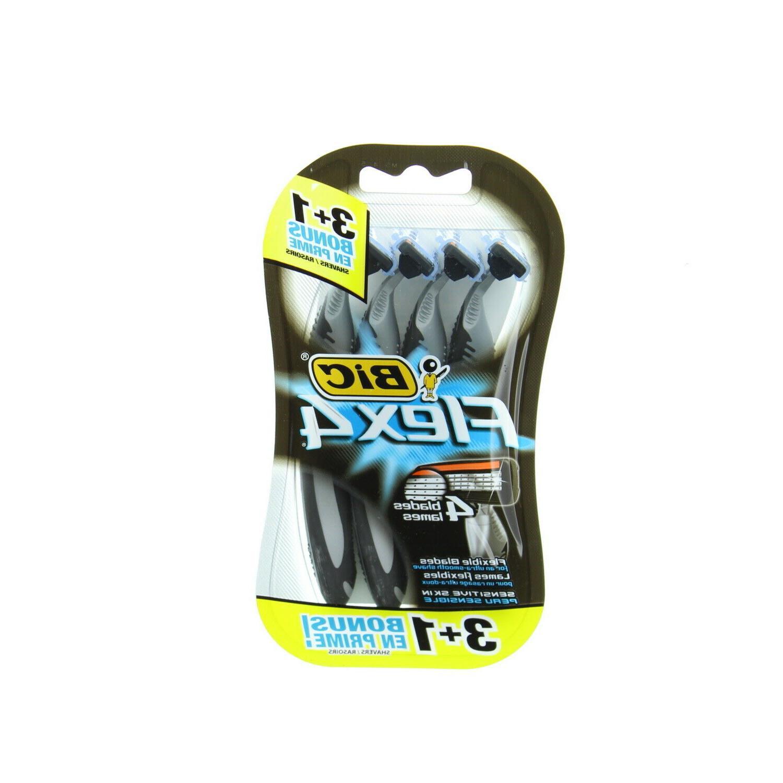 BIC S4FMP31 Flex 4 Disposable Men's 4 Blade Razor, Gray/Blac