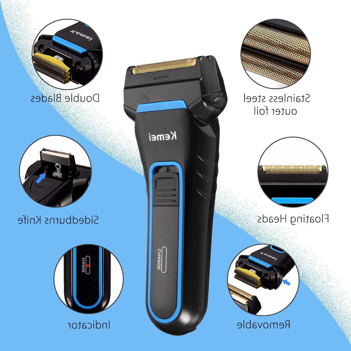 Kemei Men Electric <font><b>Shaver</b></font> 2 Dual Rechargeable Beard Razor Sideburns <font><b>Cutter</b></font>