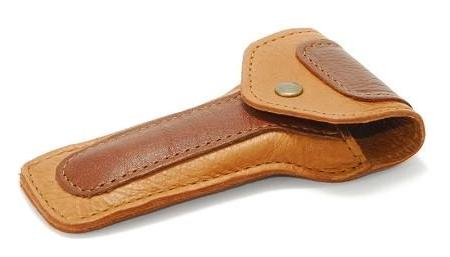 leather safety razor case brown