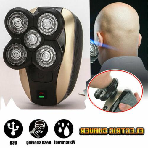 men 4d rotary electric shaver rechargeable bald