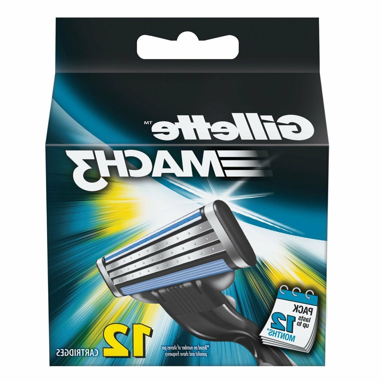 Mens Gillette MACH3 Refills  Razor Blades - 12 Cartridges