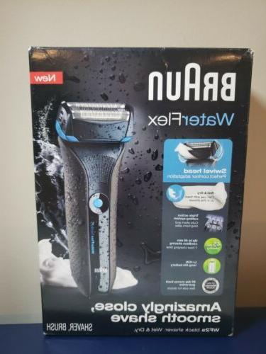 NIB Braun Waterflex Wet & Dry Shaver Black ~WF2s Contour Swi