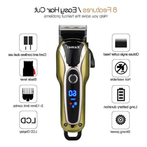KEMEI Professional Electric Hair Clipper Trimer Cutter Cordless