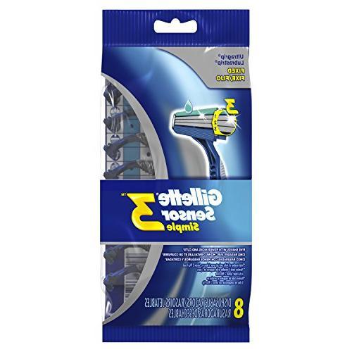 Gillette Sensor3 Simple Men's Disposable Razors, 8 Count, Me