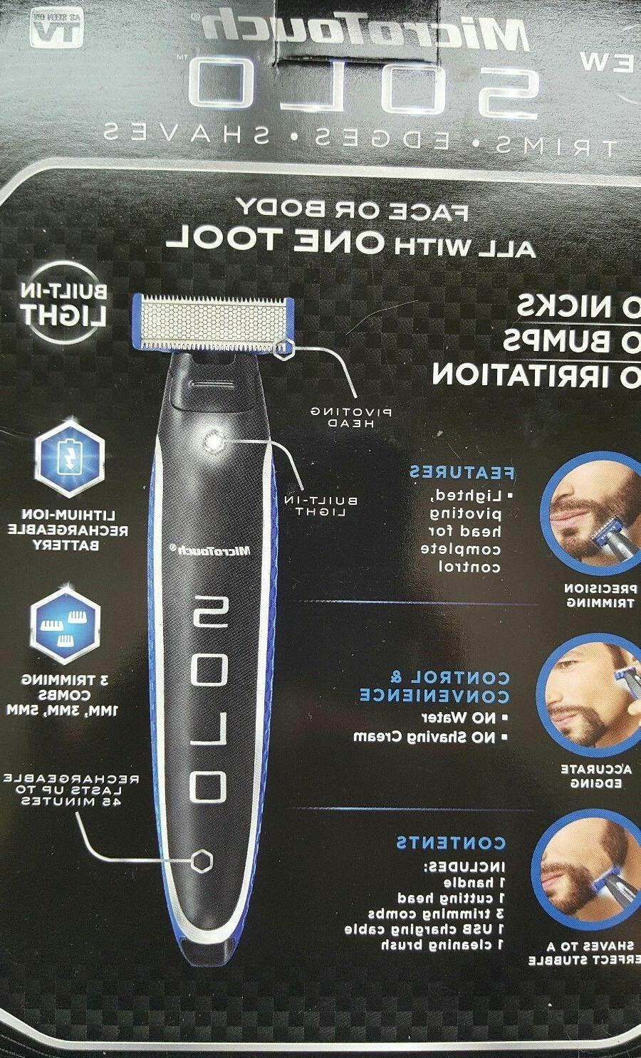 Micro Touch SOLO Rechargeable Trimmer Shaver Men 3 PCS Combs Gift