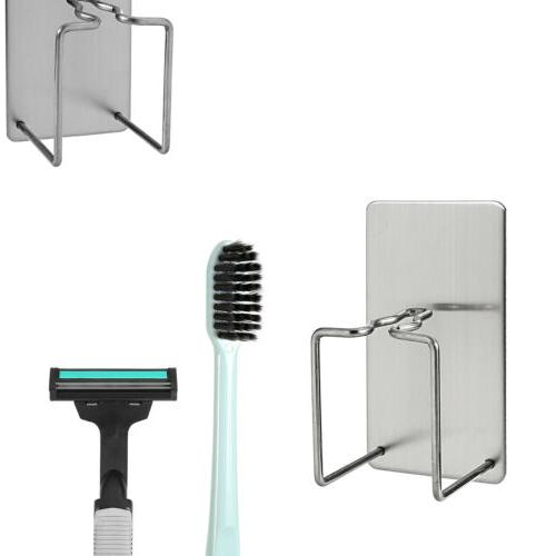 Stainless Steel Wall Shaver Toothbrush Suction Holder Bathroom