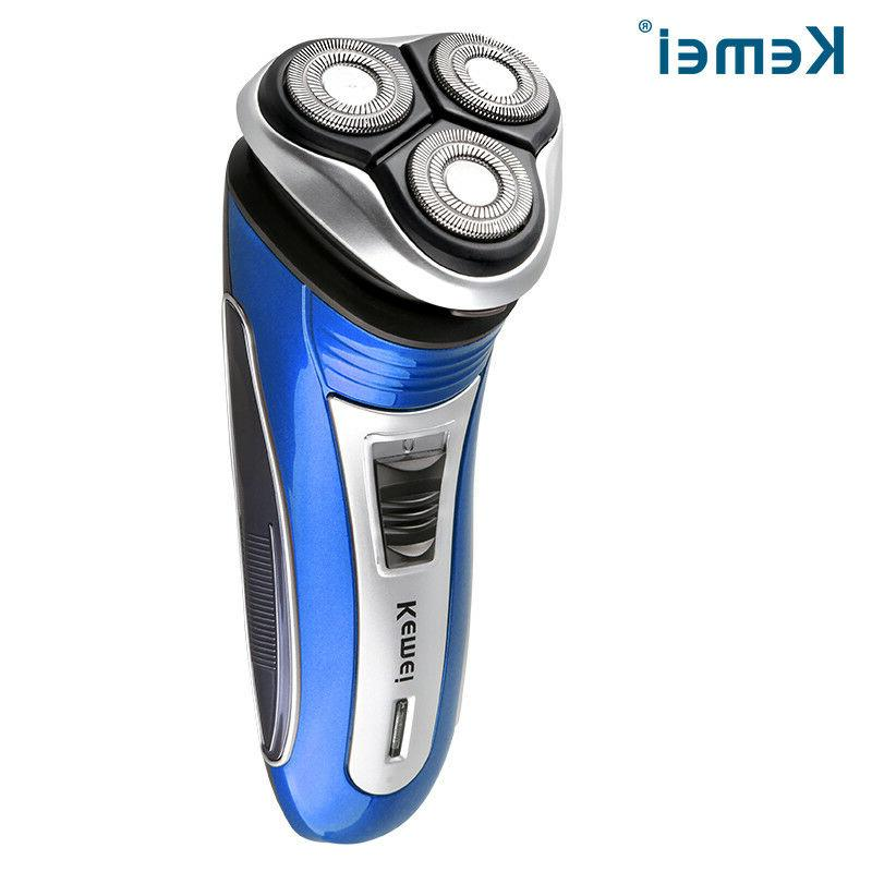 wireless rechargeable 3head 3d floating electric shaver