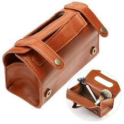 Leather Bag Fashion Men's Portable Cosmetic Pouch Brown PU L