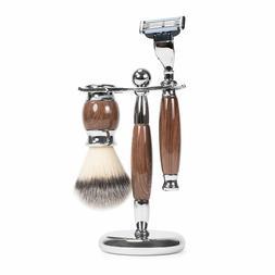 WYZworks Luxury 3 Piece Oak Shave Kit Badger Brush Shaver Wo