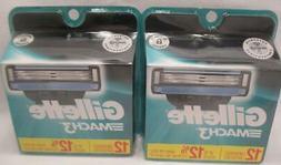 Gillette Mach3 Razor Shaver Blade Cartridges Refills 2 x 12
